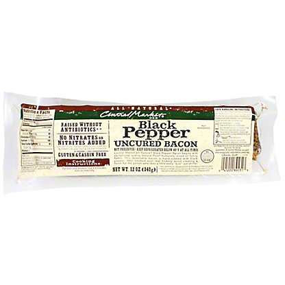 Central Market Natural Uncured Black Pepper Bacon, 12 oz